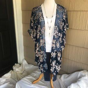 NWT LoveStitch Navy floral burnout kimono